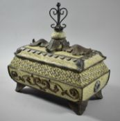 A Reproduction Metal Mounted Rectangular Box with Acanthus Leaf Decoration, 30cm Wide