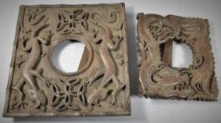 Two Rectangular Carved Wooden Chinese Easel Back Frames, 30cm and 22cm high