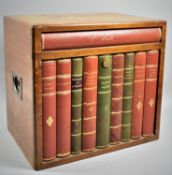 A Mid 20th Century Novelty Decanter or Tantalus Box Having Inset Brass Carrying Handles and