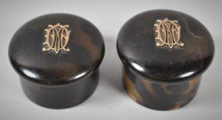 Two Yellow Metal Mounted Monogrammed Circular Dressing Table Boxes, 4cm Diameter