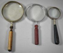 Three Vintage Magnifying Glasses, The Longest 20cm