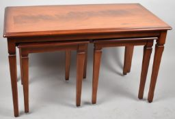 A Modern Crossbanded Nest of Three Tables On Square Tapering Supports, 78.5cm Wide