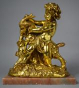A Table Lamp Base in the Form of a Cherub Wrestling with Goat, Onyx Rectangular Base, 30cm Wide (