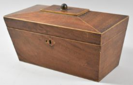 A 19th Century Mahogany Sarcophagus Shaped Tea Caddy, In Need of Some Restoration, Inner Dividers