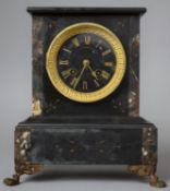 A Late 19th/Early 20th Century French Slate and Marble Mantle Clock with Eight Day Movement, Claw