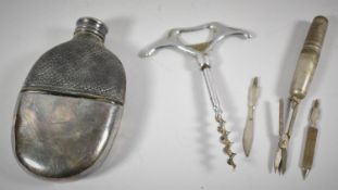 A Leather Topped Glass Hip Flask and Two Corkscrews