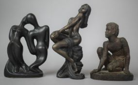 Two Bronze Effect Resin Studies, Seated Boy and Seated Nude Together with a Ceramic Modernist Figure