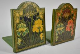 A Pair of Wooden Bookends with Painted Floral Decoration, 13.5cm high