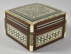 A Square Mother of Pearl Inlaid Indian Box, 9.5cm