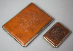 A Leather Mounted Cigarette Case and a Vesta Case both with Tooled Tops Having the Hannover Crest
