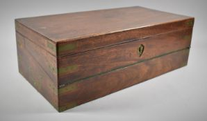 A 19th Century Mahogany Fall Front Writing Slope with Fitted Interior, Inset Brass Carrying