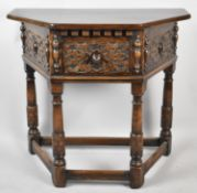 A Good Quality Edwardian Carved Oak Credence Table on Turned Supports, Single Drawer, 81cm Wide