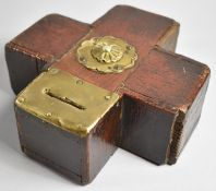 A 19th Century Folk Art Brass Mounted Oak Money Box in the Form of a Cross with Central Rosette