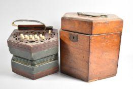 A Late 19th/Early 20th Century Mahogany Cased Barnett Samuel & Sons Hexagonal Concertina, Wooden