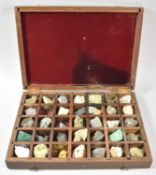 An Edwardian Cased Collection of Mineral Samples, 34cm Wide