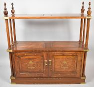 A Modern Brass Inlaid Far Eastern Hardwood Whatnot Cabinet, With Turned Supports, Panelled Doors