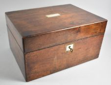 A Late 19th Century Rosewood Fitted Ladies Workbox with Removable Tray, Silver Plate Topped