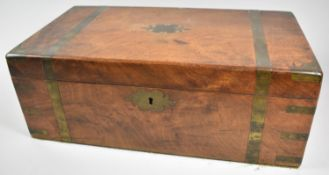 A 19th Century Brass Banded Mahogany Writing Slope with Fitted Interior, 45cm Wide