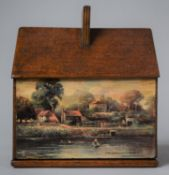 An Early 20th Century Wooden Novelty Money Box in the Form of a House, Decorated with Scenic Cards