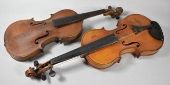 Two Vintage Violins for Restoration, 3/4 and Full Size