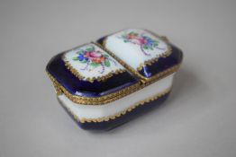 A Limoges Two Lidded Porcelain Box with Cobalt Blue, Gilt and Floral Decoration, Printed Mark for
