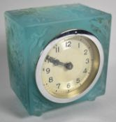 A Vintage Blue Perspex Bedside Clock with Moulded Cube Framed Depicting Nude Maiden Riding Deer, 8cm