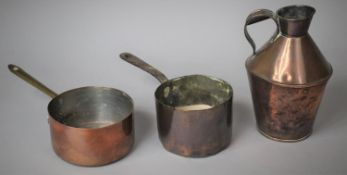 Two Copper Saucepans and Jug, the Base of Jug Stamped 3-40-IM