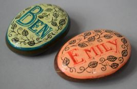 """Two Painted Pebbles, """"Emily"""" and """"Ben"""", 7.5cm high"""
