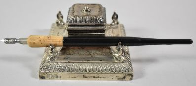 A Silver Desktop Inkwell with Four Scrolled Pen Rests and Glass Liner, With Unrelated Pen, 9.5cm