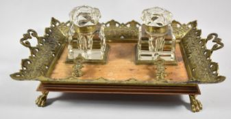 A French Ormolu Two Handled Rectangular Desktop Inkstand Tray with Two Glass Bottles, Lids Present
