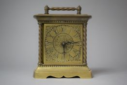 A Heavy Brass Metamec Carriage Clock, with Barley Twist Pilaster Decoration, 18cm High
