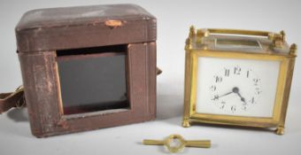 A Late 19th/Early 20th Century Brass Cased French Carriage Clock in Original Travelling Case,