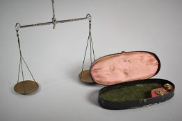 A Late 19th Century Scumble Glazed Tortoiseshell Effect Metal Oval Case Containing Jeweller's or