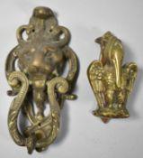 Two Brass Door Knockers, Pelican and Horned Lion