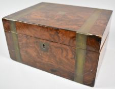 A 19th Century Brass Banded Faux Rosewood Writing Slope with Fitted Interior, In Need of Some