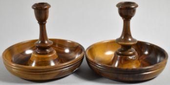 A Pair of Olive Wood Brighton Bun Travelling Candlesticks, 11cm Diameter