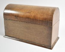 A Dome Topped Wooden Four Section Stationery or Letter Box, 24cm Wide