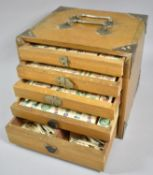 An Edwardian Mahjong Set in Brass Mounted Five Drawer Case with Two Carrying Handles Together with a