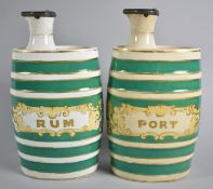 A Pair of Ceramic Oval Barrel Shaped Decanters for Rum and Port with Pewter Hinged Lids, 22cm high