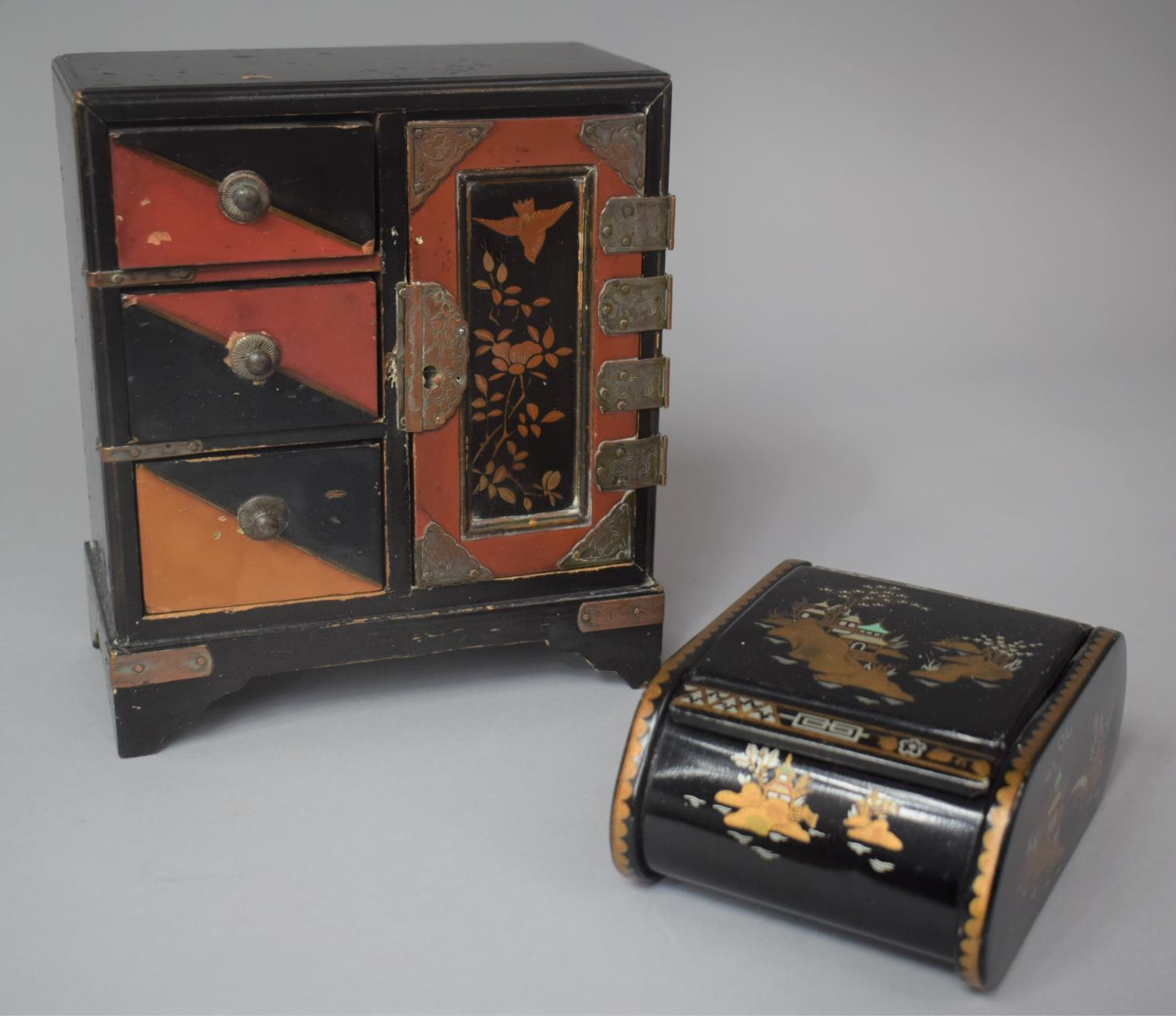A Small Chinese Lacquered Three Drawer Collectors Cabinet, 17cm high Together with a Chinoiserie