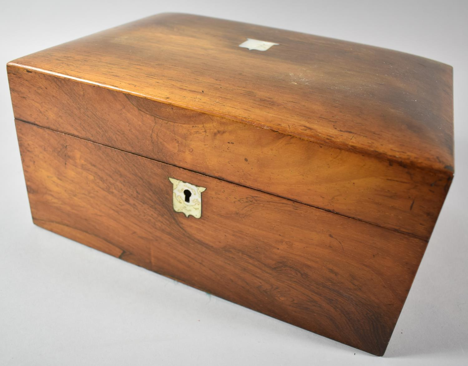 A Late 19th Century Rosewood Ladies Workbox with Mother of Pearl Escutcheons, Missing Inner Tray,
