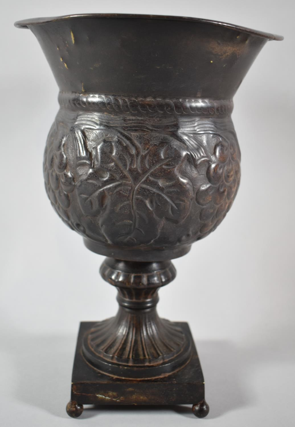 A Modern Bronze Effect Metal Vase on Square Base with Four Ball Feet, 28cm high