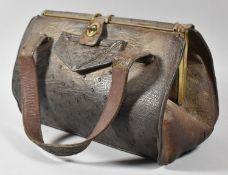 An Edwardian Ladies Crocodile Skin Handbag, 31cm Wide
