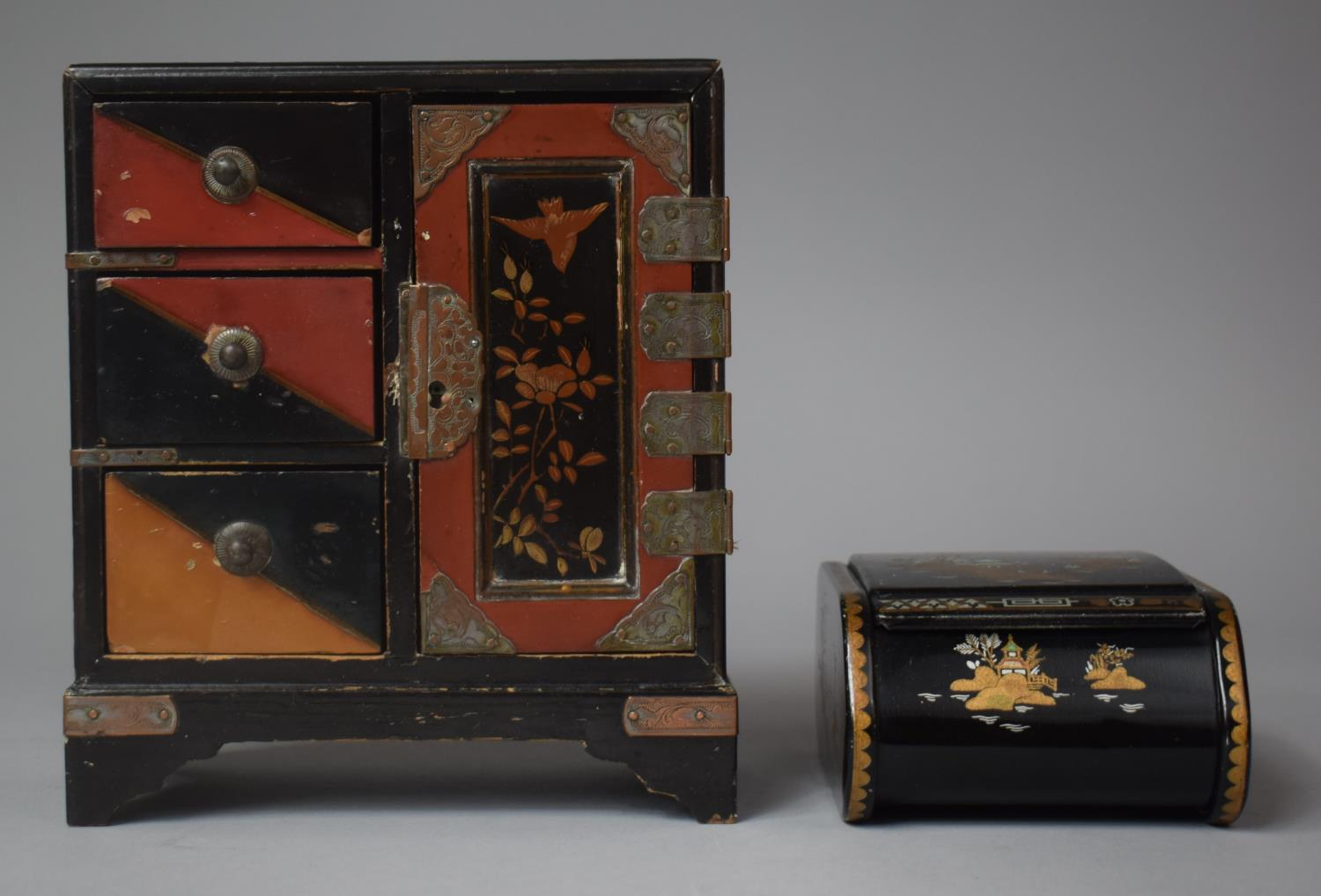 A Small Chinese Lacquered Three Drawer Collectors Cabinet, 17cm high Together with a Chinoiserie - Image 2 of 2