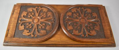 A Late Victorian Carved Book Rest with Hinged Arched End Panels, 51cm wide