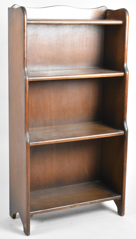 An Oak Galleried Waterfall Four Shelf Open Bookcase, 50.5cm Wide and 100cm High