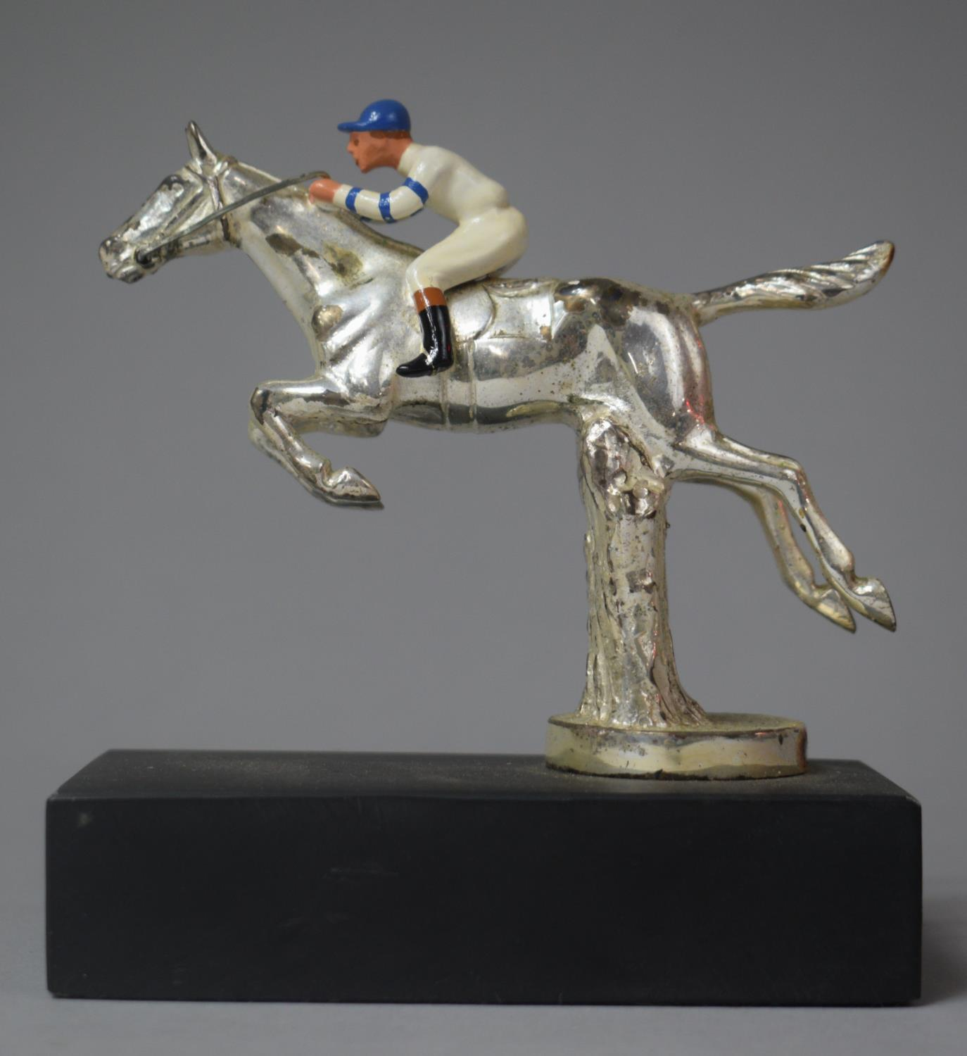 A Chromed Car Mascot in the Form of Racehorse and Jockey Taking Fence, 12.5cm high - Image 4 of 4