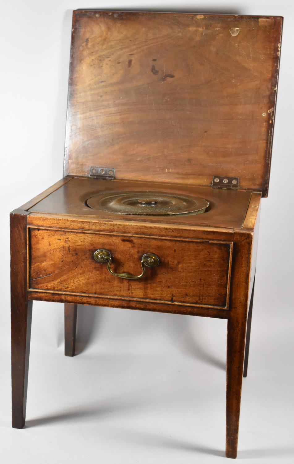 A Mid 19th Century Oak Box Commode with Hinged Top, Missing Liner, 48cm wide - Image 2 of 2