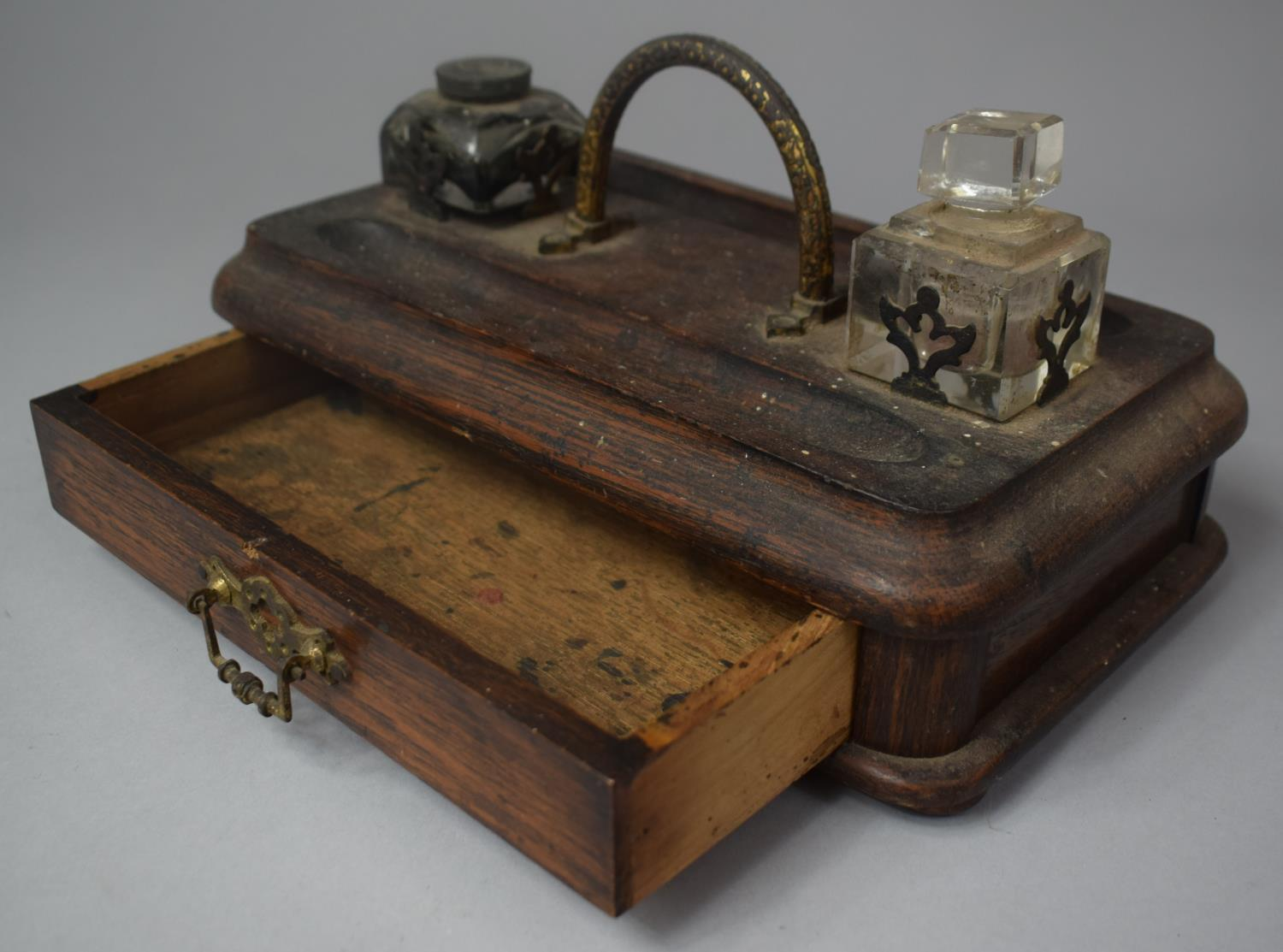 A Late Victorian Desktop Penrest and Inkstand with Two Ink Bottles and Base Drawer, 25cm Wide - Image 3 of 3