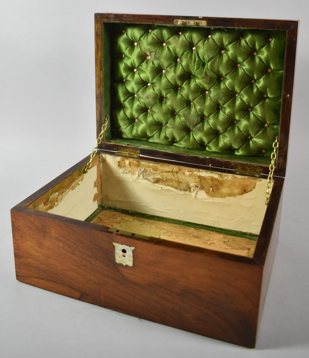 A Late 19th Century Rosewood Ladies Workbox with Mother of Pearl Escutcheons, Missing Inner Tray, - Image 2 of 2